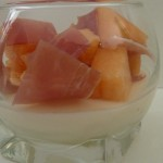 Verrine revisitée : melon, jambon, mozzarella